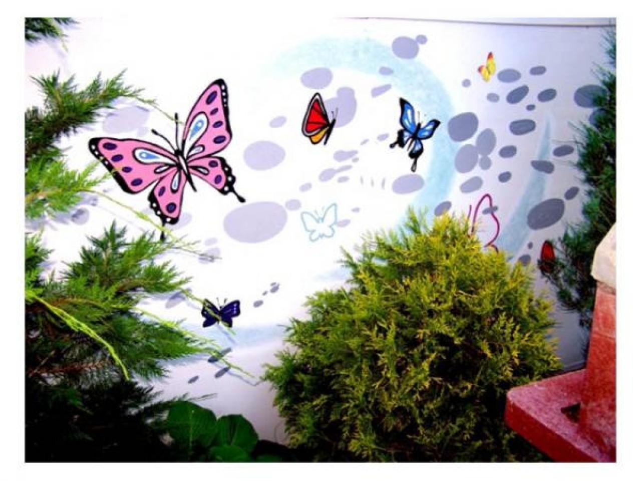 Рисунки на стенах своими руками на даче